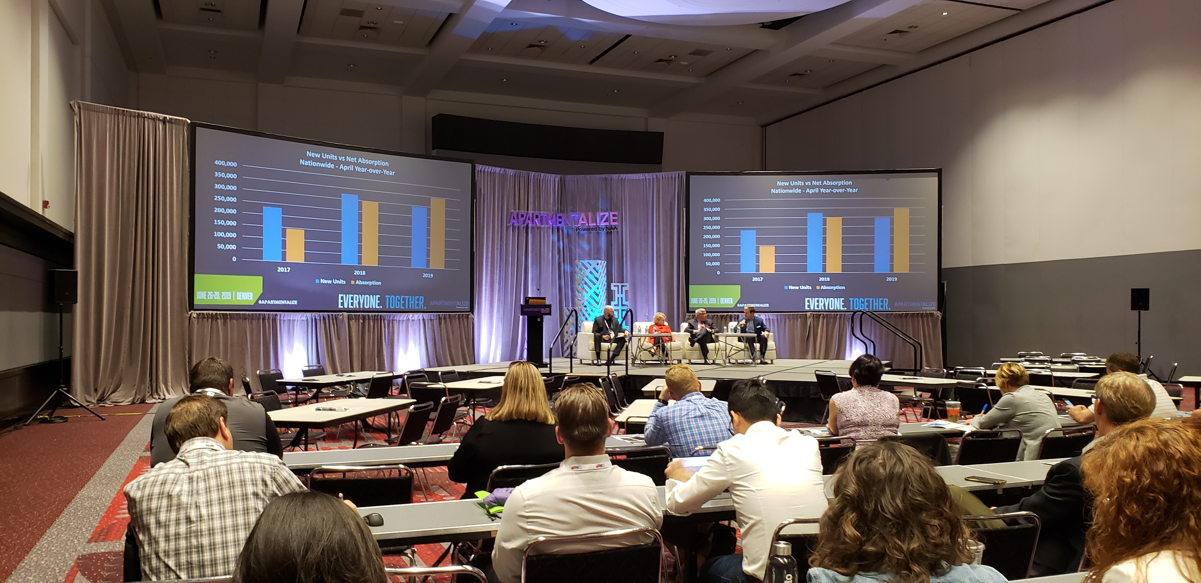 "Jordan Brooks moderating his panel at 2019 Apartmentalize in Denver, Colorado called ""Does (Market) Size Really Matter"""
